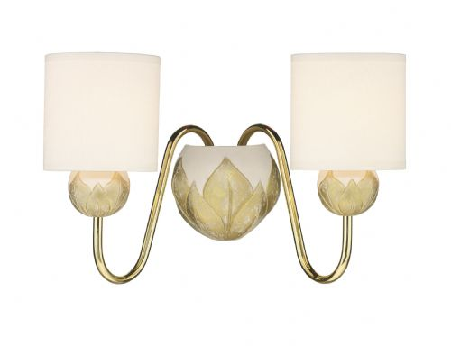 Dahlia 2 Light Wall Bracket Ivory/Gold complete with Shades DAH0912 (Class 2 Double Insulated)